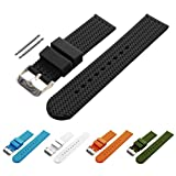 BARTON Watch Bands - Choice of Colors & Widths (18mm, 20mm, 22mm or 24mm) - Black 22mm - Soft Silicone rubber