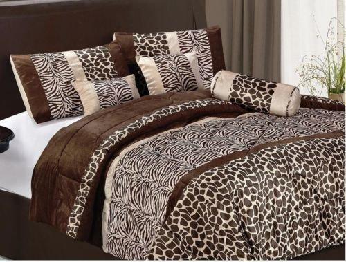 New Bed Bag King Queen 7 Pc Brown Zebra Giraffe Fur Animal Print Comforter Set front-1055958