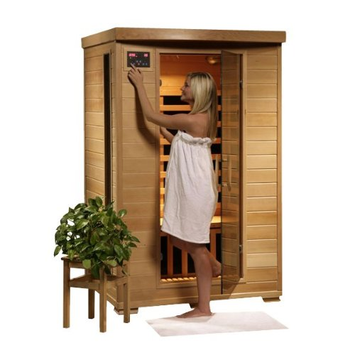 Hanko 2 Person Pre-Built Far Infrared Sauna - 6 Premium Carbon Heaters - High Quality Hemlock Wood Construction - Built In Mp3/Aux/Cd/Am/Fm Stereo & Speakers - 7 Color Therapy Light - Backrests - Towel Hooks & Magazine Rack - Oxygen Ionizer - 5 Year Warra