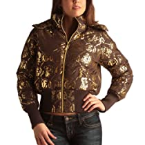 Ed Hardy Womens Logo Puffer Jacket -Coffee