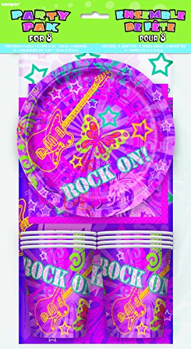 Unique Rock On Girls Party Pack for 8 - Pink Purple