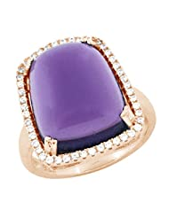 Pink Gold Plated Pure 925 Sterling Silver Simulated Diamonds And Amethyst Coloured CZ Ring