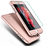 iPhone 5S Case,iPhone 5 Case, COOLQO® Full Body Coverage Ultra-thin Hard Hybrid Plastic with [Slim Tempered Glass Screen Protector] Protective Case Cover & Skin for Apple iPhone 5S/5 (Rose Gold)