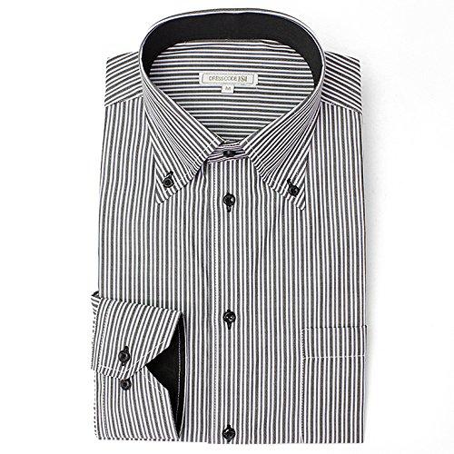 DRESS CODE 101 【スリム】 ボタンダウン ドレスシャツ 襟高デザイン 長袖ワイシャツ 白 メンズ 長袖 ワイシャツ Yシャツ SHIRT-4005-M