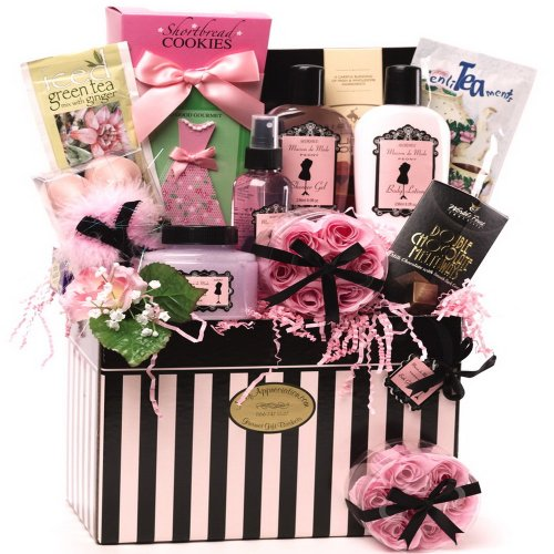 Dressed to Impress Spa Bath and Body Set with Gourmet Cookies and Tea - Gift Basket