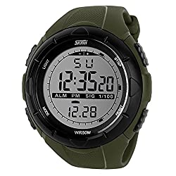 Skmei SK1025ARMGRN Sports Digital Watch with Stopwatch , Alarm - Army Green - For Men and Boys