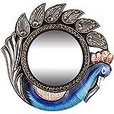 Kamdhenu Art And Craft Wood & Glass Peacock Shape Vintage Mirror (30 Cm X 30 Cm X 30 Cm, Blue, KAC17-MIR-01)