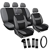 OxGord 17pc Set Flat Cloth Mesh Gray & Black Original Seat Covers Set - Airbag Compatible - Front Low Back Buckets - 50/50 or 60/40 Rear Split Bench - 5 Head Rests - Universal Fit for Car, Truck, Suv, or Van - FREE Steering Wheel Cover