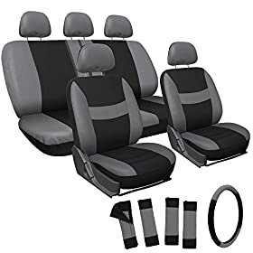 OxGordu00ae 17pc Set Flat Cloth Mesh / Gray & Black Auto Seat Covers Set - Airbag Compatible - Front Low Back Buckets - 50/50 or 60/40 Rear Split Bench - 5 Head Rests - Universal Fit for Car, Truck, Suv, or Van - FREE Steering Wheel Cover