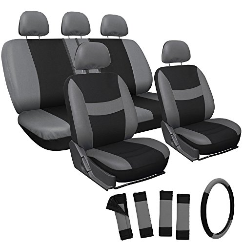 OxGord® 17pc Set Flat Cloth Mesh / Gray & Black Auto Seat Covers Set - Airbag Compatible - Front Low Back Buckets - 50/50 or 60/40 Rear Split Bench - 5 Head Rests - Universal Fit for Car, Truck, Suv, or Van - FREE Steering Wheel Cover