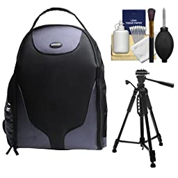 Bower Pro Digital SLR Photography BackPack + Tripod + Cleaning Kit for Canon EOS 7D, 70D, 5D Mark II III, Rebel T3, T3i, T4i, T5, T5i, SL1, Nikon D3200, D3300, D5200, D5300, D7100 DSLR Cameras