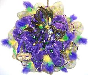Deco Mesh Wreath Mardi Gras Wreath Green And