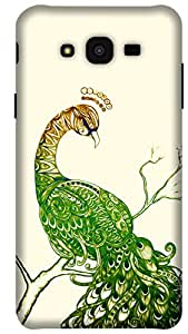 The Racoon Lean printed designer hard back mobile phone case cover for Samsung Galaxy J7. (Peacock Wh)