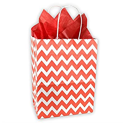 Valentines Red and White Chevron Pattern Kraft Gift Bag (Set of 8)