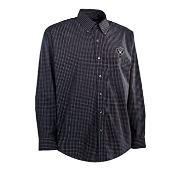 NFL Mens Oakland Raiders Esteem Woven Dress Shirt by Antigua