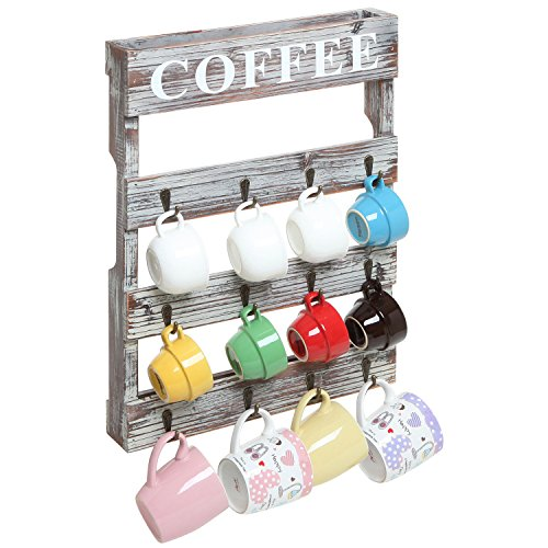 Country Rustic Style Brown Wood 12 Hook Wall Mounted Coffee Mug Rack / Tea Cup Holder Storage Organizer (Wooden Coffee Mug Holder compare prices)