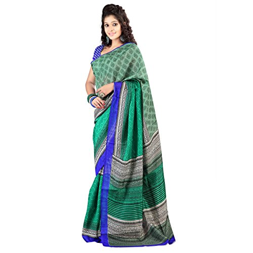 Triveni Indian Ethnic Saree Printed Green