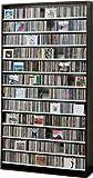 1284枚収納 CD屋さんのCD/DVDラック 幅109cm インデックスプレート20枚付き (ダークブラウン D)