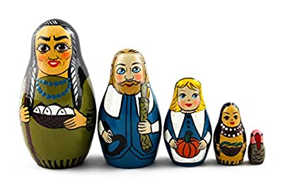 Matryoshka Matrioska Babuska Russian Nesting Wooden Doll Thanksgiving Day Babushka 5 Pcs Stacking Hand Painting Beautiful Nested Craft Matriosjka Matrioska Matreshka Matrjoska Matroeska