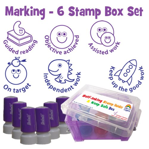 teacher-marking-self-inking-stamp-set-and-storage-box-6-stamps-guided-reading-objective-achieved-ass