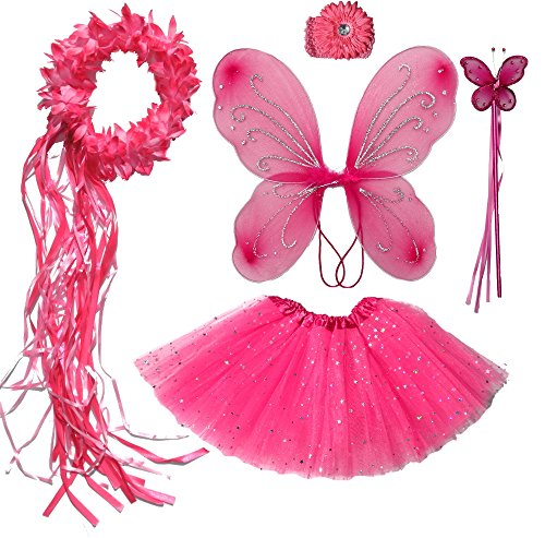 Girls Hot Pink Fairy Costume with Butterfly Wings, Wand, Tutu & Halo