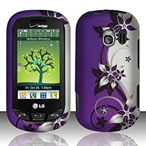 Cell Phone Case Cover Skin for LG VN271 Extrovert, Verizon - Purple / Silver Vines from Other