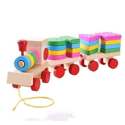 Blocs géométriques en bois Chemin du train d'empilage Ensemble d'empilage Jouet éducatif d'apprentissage préscolaire pour les enfants tout-petits