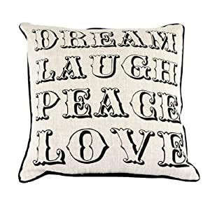 Room Service Natural & Neutral Collection Dream Laugh Peace Love Pillow, 20 x 20-inch, Oatmeal Linen/Black
