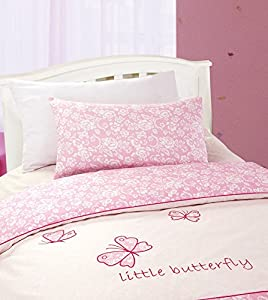 Baby Girl Nursery Bedding Pink Butterfly Cot Duvet Quilt Cover Bedding Set