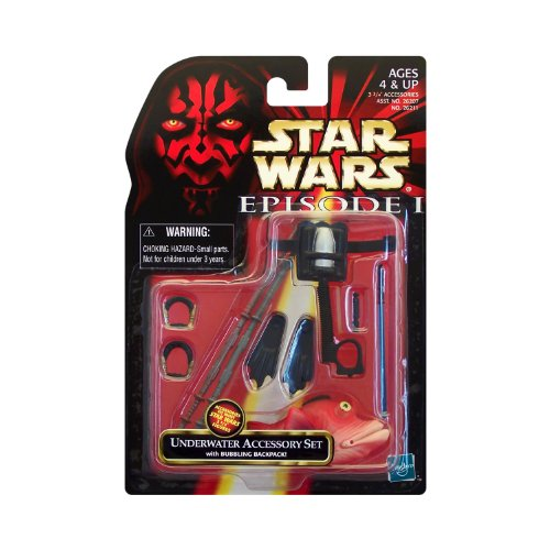 "Hasbro Year 1998 Star Wars Episode 1 ""The Phantom Menace"" Series 4 Inch Tall Action Figure Accessory Kit - UNDERWATER ACCESSORY SET with Bubbling Backpack, 2 Gungan Staffs, 2 Flippers, 2 Jedi Breathing Devices, Lightsaber, Lightsaber Handle and Fish (Figure is Not Included)"
