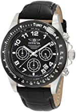 "Invicta Men's 10707 ""Speedway"" Stainless Steel Watch with Black Leather Band"