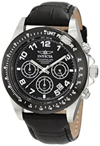 """Invicta Men's 10707 """"Speedway"""" Stainless Steel Watch with Black Leather Band"""