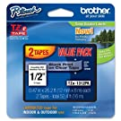 Brother P-Touch TZE1312PK - TZe Standard Adhesive Laminated Labeling Tapes, 1/2w, Black on Clear, 2/Pack
