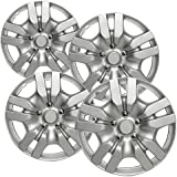 "OxGord Hubcaps for Nissan Altima 2009-2012 Set of 4 Pack 16"" Inch Silver Auto Wheel Covers, OEM Genuine Factory Aftermarket Replacement, ABS Plastic - Easy Snap On - Includes 5 Lug Nut Center Caps"