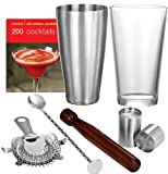 VonShef Boston Cocktail Set including Wooden Muddler + Twisted Bar spoon + Hawthorne Cocktail Strainer + 2x shot measurers + 28oz Stainless Steel Shaker + 16oz Glass + Cocktail Recipe Book