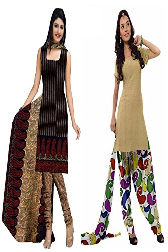 Araham soft crepe / American crepe dress material / unstitched Salwar Suit pack of 2 combo No 500