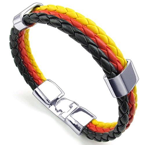 Leather Bracelet Unisex - Feelme Mens Germany Flag Triple Round Cord Braided Rope Wrap Banner Cuff Bangle Wristband DE (Italian Flag Souvenir compare prices)