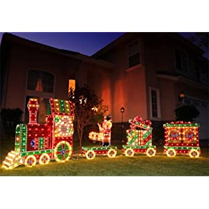 Outdoor christmas train decoration x mas collection for Amazon christmas lawn decorations