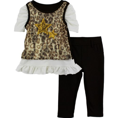 "Young Hearts Girls ""Stars"" Gold Top & Pants Set"