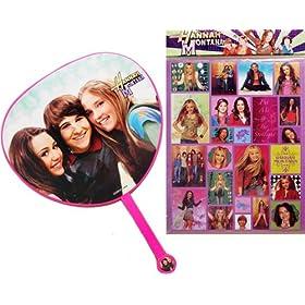Pink Hannah Montana Hand Fan! Bonus Hannah Montana Sticker Sheet