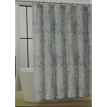 Green Cream And Silver Floral Paisley Shower Curtain