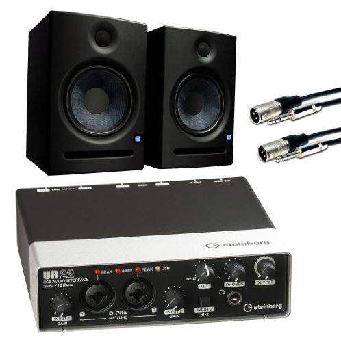 Steinberg Ur22 Usb 2.0 Audio And Mdi Interface With Pair Of Presonous Eris E5 Studio Monitors, 2 Comprehensive 10' Cables