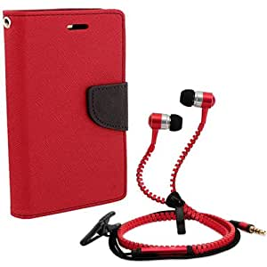 Aart Fancy Diary Card Wallet Flip Case Back Cover For HTC 620-(Red) + Zipper earphones/Hands free With Mic *Stylish Design* for all Mobiles By Aart store