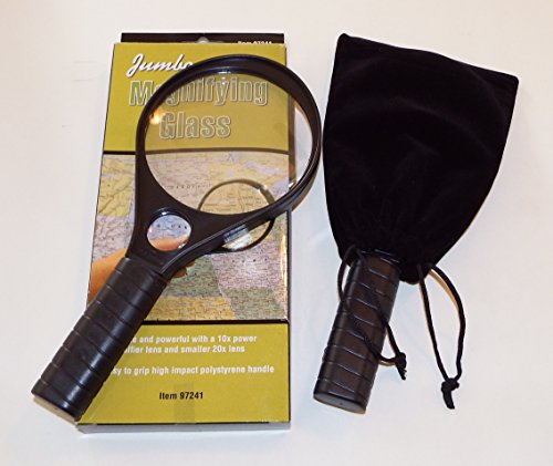 Jumbo Magnifying Glass 10x and 20x Lens Plus Free Pouches to Protect the Lens TWO Pack - 1