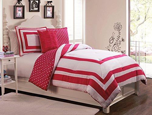 Geneva Home Fashion 3-Piece Hotel Juvenile Reversible Polka Dot Comforter Set, Twin, Pink front-1037353