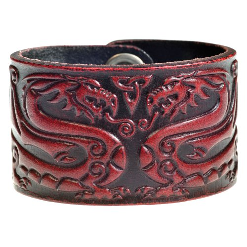 Leather Bracelet Embossed Celtic Dragon Antique-bordeaux with Snap Fasteners (Nickel Free) (20 Centimeters)
