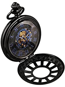 buy Alienwork Retro Mechanical Pocket Watch Skeleton Hand-Wind Engraved Metal Blue Black W891D-02