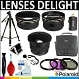 Polaroid Studio Series .42X HD Super Fisheye Lens + Polaroid Studio Series .43X HD Wide Angle Lens + Polaroid Studio Series 2.2x HD Telephoto Lens + Polaroid Optics 3 Piece Filter Set (UV, CPL, FLD) + Cleaning & Accessory Kit For The Nikon D40, D40x, D50