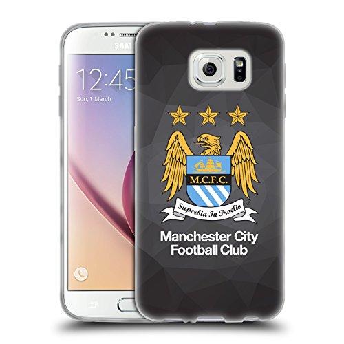 Ufficiale Manchester City Man City FC Nero Geo Colore Inero Crest Geometrico Cover Morbida In Gel Per Samsung Galaxy S6