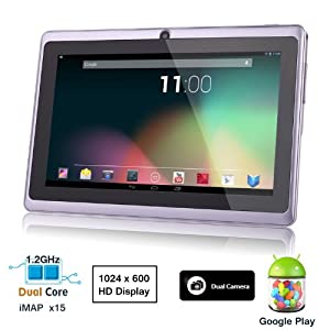 Dragon Touch® 7'' Purple Dual Core Y88 512MB/4GB Google Android 4.1 Tablet PC, Dual Camera, HD 1024x600, Google Play Pre-load, HDMI, 3D Game Supported (enhanced version of A13) [By TabletExpress]